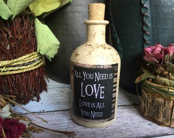 The Beatles, All You Need is Love, Beatles Gift, Beatles Lyrics Bottle, Song Lyric Bottle, Custom Song Lyric Bottle, Song Lyric Art.
