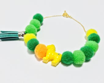POMPOM Bracelet - Yellow Lion with Tassel