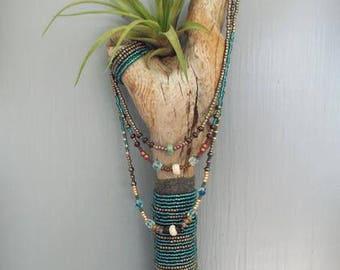Pacific Driftwood beaded wall art Air plant holder, Beach wood wall hanging, wabi sabi decor, housewarming gift, home beach decor,