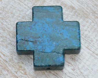 Chrysocolla Gemstone Cross Bead, Chrysocolla Pendant