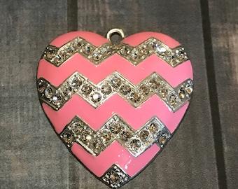 Chevron Heart Pendant, Chunky Bead Pendant, Rhinestone Pendant