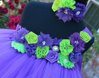 Purple and green tutu dress, purple flower girl dress, Purple tutu, green tutu