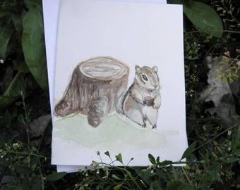 Chipmunk Original Hand-Painted Watercolor Greeting Card