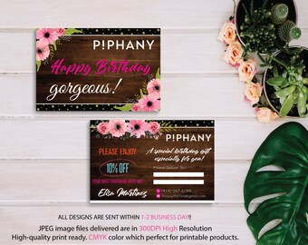 Piphany Birthday Card, Piphany Birthday Discount, Floral Flower Cards, Custom Piphany Marketing Card, Printable Card - PERSONALIZED TP05