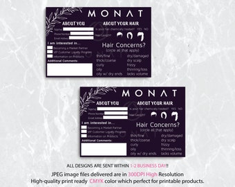 Monat Event Questionnaire - Information form - hair type, style, partner request, Monat About Your Hair Cards, Instant Download MN25