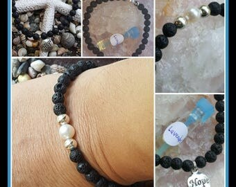 ZEN Bracelet  Genuine Freshwater Pearl and lava bead stretch bracelet with essential oil sample of choice