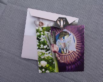 Collage Letter Card: Badger in Wonderland
