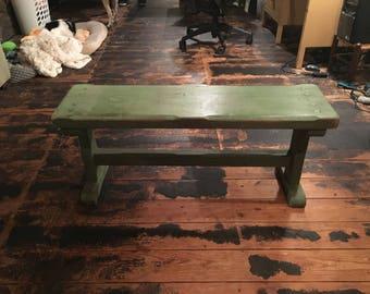 Vintage green prayer bench