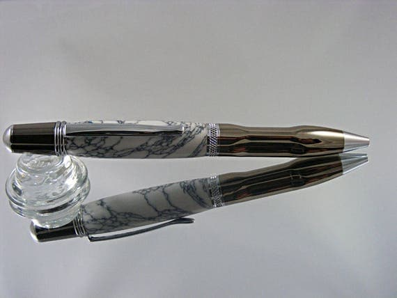 Handcrafted Contour Grip Pen in Gunmetal and Chrome with Tru-Stone