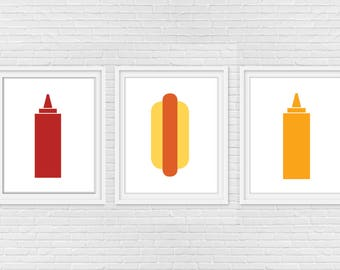 Hot Dog Ketchup & Mustard Digital Print - Food Print Set of 3 - Minimalist - Wall Art - Kitchen - Barbecue - 8 x 10 - Instant Download