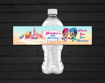 Personalized Shimmer and Shine Genies Water Bottle Label Labels Birthday Party Favors Wrapper Castle Clouds Printable DIY - Digital File