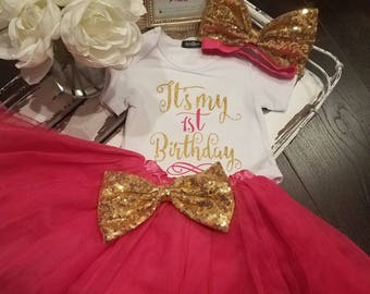 Birthday Tutu Outfit, It's My 1st. Birthday Outfit, Fuchsia, Tutu, First Birthday, Unicorn