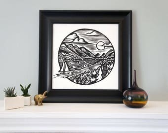 Vancouver - Woodcut Featuring a Boat Sailing in Mountain Harbor Scenery for Your Home! Woodblock Print by DinoCat Studio