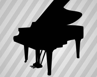 Piano Silhouette - Svg Dxf Eps Silhouette Rld Rdworks Pdf Png Ai Files Digital Cut Vector File Svg File Cricut Laser Cut