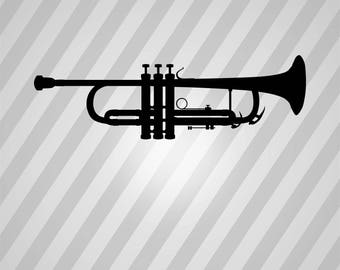Trumpet - Svg Dxf Eps Silhouette Rld RDWorks Pdf Png AI Files Digital Cut Vector File Svg File Cricut Laser Cut