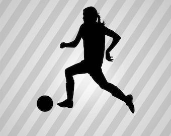 Female Soccer Silhouette Woman Soccer - Svg Dxf Eps Silhouette RDWorks Pdf Png AI Files Digital Cut Vector File Svg File Cricut Laser Cut