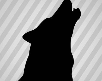 Wolf Head Silhouette Howl - Dxf, Laser Cut Vector, Silhouette, Cricut, Eps, Svg File, Pdf, Svg, AI, Cut File, Png, Stencil, Digital, Files