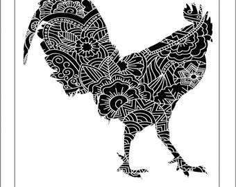 Rooster Papercut Template - Svg Paper Cut Templates Stencil Line Art Henna Mandala Pdf Cut Files Digital Clip Art Drawing