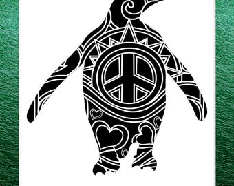 Penguin Papercut Template Mandala Henna - Svg Paper Cut Templates Stencil Line Art Pdf Cut Files Digital Clip Art Drawing