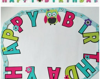 Girl Owl Happy Birthday Banner ~ Party Supplies Decorations