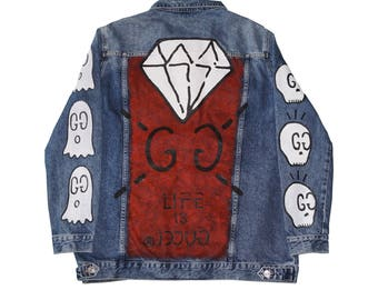 Life is Gucci oversized hand-painted denim jacket