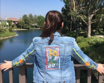 Upcycled hand embroidered women's denim jacket