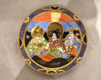 Art Deco Japanese hand painted decorative plate - circa 1920s. Black,gold,blue & orange.