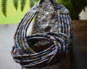 Hand woven cloth tied fabric rope blue/green choker.