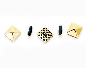 Stud and Spacer Sliders Mix - Gold and Black - 5 pieces