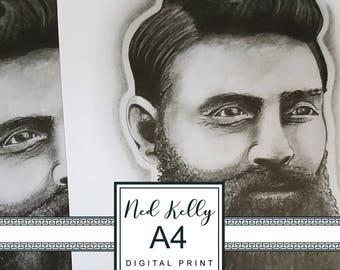 Digital Print A4. Ned Kelly Charcoal Illustration. Australian Bushranger