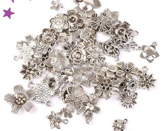 40 charms flower 8-35 mm mixed pairs: nature, silvery metal pendants