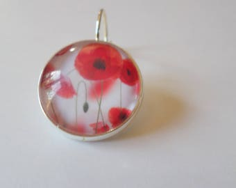 SOLD to the PIECE, earring, sleeper, glass cabochon, poppies