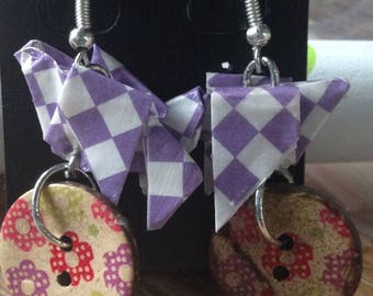Origami Dove gingham and flower button earrings