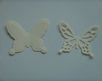 Cut set of 2 butterflies in 4.4 cm tall beige drawing paper