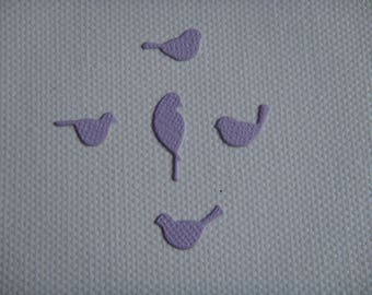Set of 5 mini purple design for scrapbooking and card paper birds