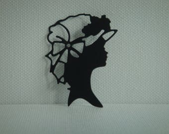 Cutout silhouette black woman in drawing paper for scrapbooking or card