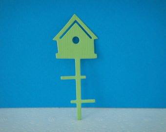 Cut light green birdhouse for birds of 6 cm for scrapbooking and card