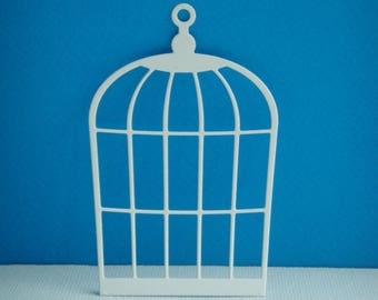 Cut bird cage paper white drawing for creation