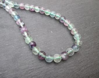Fluorite - 10 round beads 6 mm in diameter