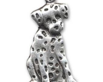 Pendant 46 mm antique silver metal Dalmatian dog * 1