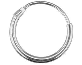 Hoop earrings 15 mm 925 sterling silver - pair