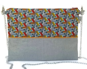 Clutch bag, shoulder bag, linen cotton and blue grey geometric, graphic, wax Papyrus France, women gift, handmade