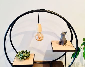 Lamp with wooden shelves