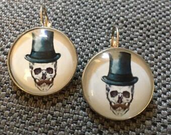 """Earrings """"death's head"""" 25 mm silver"""