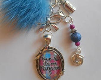"Keychain bag charm / ""GODMOTHER /""will you be my godmother? "" Christening /"