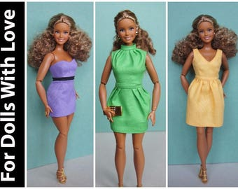 PDF Doll Clothes Pattern: Three Dresses for Articulated Curvy Barbie