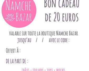 Gift card / voucher worth 20 euros