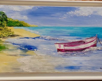 The boat on beach - knife oil painting - floater