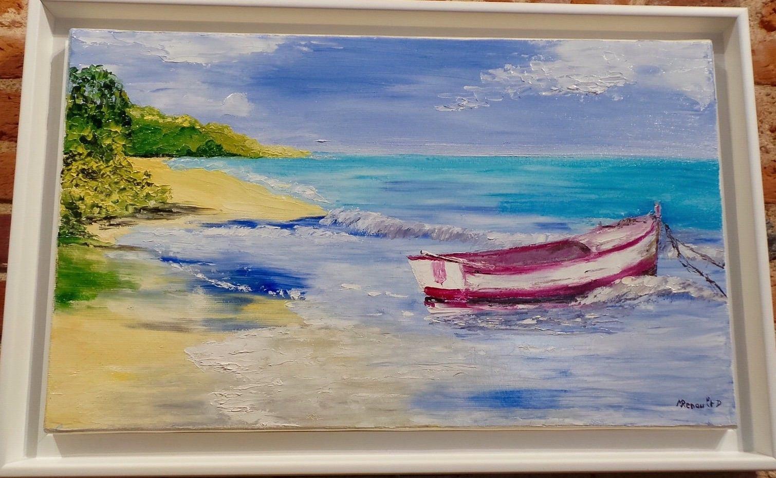 La barque sur la plage peinture l 39 huile au couteau - Peinture au couteau huile ...