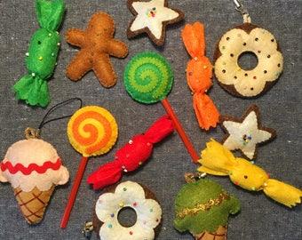 Candy Bundle,SET OF 13,SweetsSet,Ginger man,Cookies,IceCream,Donut,Lollipop,Non-woven felt,Fiber Art,colorful,Accessory,Home decor,Gift Idea